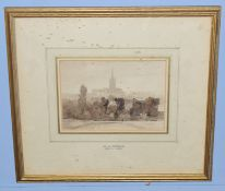 Miles Edmund Cotman (1810-1858), Norwich Cathedral, sepia watercolour, 12 x 18cm
