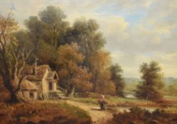 John Moore of Ipswich (1820-1902), Country Landscape with figure and cottage, oil on canvas,