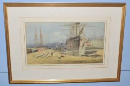 Charles Harmony Harrison (1842-1902), 'Fellows Dry Dock', watercolour, signed lower left, 25 x 46cm,
