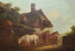 Edward Robert Smythe (1810-1899), Horses before a Cottage and Stable, oil on canvas, signed lower