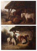 Edward Robert Smythe (1810-1899) Milking Time and Horses in a Stable, pair of oils on canvas, both