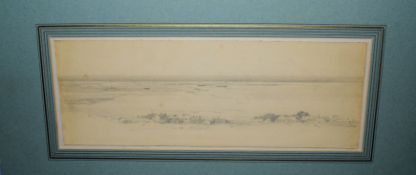 Henry Bright (1810-1873), 'Blakeney', pencil drawing, 13 x 34cm, mounted but unframed
