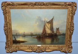 John Moore of Ipswich (1820-1902), River Scene with Figures and Boats, Distant Windmill, oil on