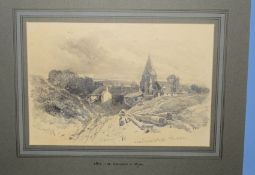Henry Bright (1810-1873), 'Near Benstead, Sussex', pencil drawing, signed lower left, inscribed with