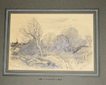 Henry Bright (1810-1873), 'At Betchworth, Surrey', pencil drawing, signed lower right, inscribed