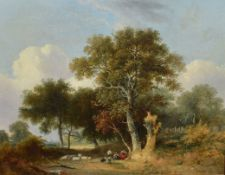 Samuel David Colkett (1806-1863), Landscape with Figures, Dog and Sheep, oil on panel, 46 x 56cm