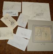 Henry Bright (1810-1873), Landscapes etc, group of nine pencil drawings, some monogrammed,
