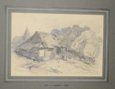 Henry Bright (1810-1873), 'Old Barn at Benstead', pencil drawing, signed lower left, inscribed