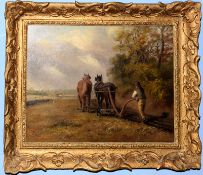 Thomas Smythe (1825-1906), Ploughing Scene, oil on canvas, signed lower left, 29 x 39cm