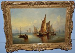 John Moore of Ipswich (1820-1902), Shipping Becalmed, oil on canvas, signed lower left, 34 x 50cm