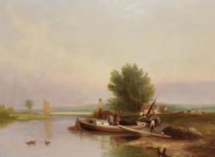 Samuel David Colkett (1806-1863), River Scene with Figures and Boats, oil on canvas, signed lower