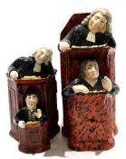 Group of two late 18th/early 19th century Staffordshire vicar and Moses pew groups, (2), largest