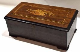 Late 19th century ebonised cased music box, cylinder movement (some teeth missing), 48cm long