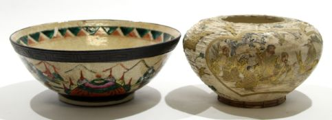 Chinese crackleware bowl decorated with warriors together with a further Japanese Satsuma bowl,