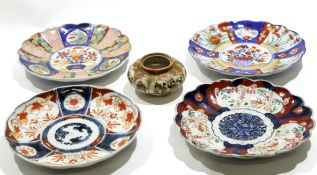 Group of Japanese Imari porcelain wares including four shaped dishes and a Satsuma ware bowl,