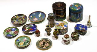 Group of cloisonne wares including two cylindrical jars and covers and other small miniature