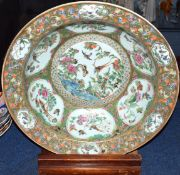 Superb late 18th/early 19th century Cantonese porcelain bowl, the famille vert ground decorated in a