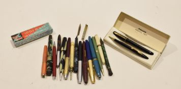 Box collection of vintage fountain pens, propelling pencils etc