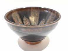Japanese pottery tapered bowl with Tenmoku type glaze, 13cm diam