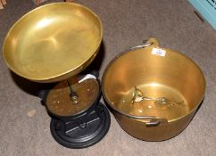 Vintage brass pancheon and set of brass and anodised scales
