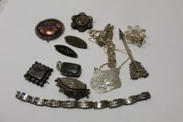 Box of various hallmarked silver, white metal and other brooches etc