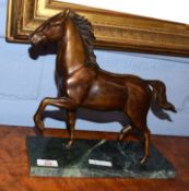 Mid/late 20th century bronze model of a trotting horse on green marble base, base size 29cm wide x
