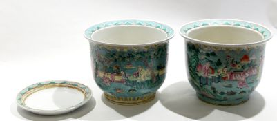 Two Chinese porcelain jardinieres, the green ground decorated in famille rose with Chinese