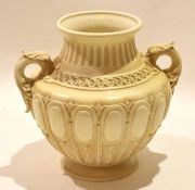 Late 19th century Royal Worcester vase, Shape 1544, with an ivory type design and fish handles, 23cm