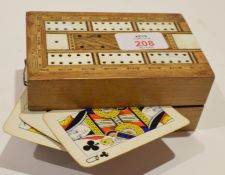 Vintage folding cribbage scoreboard containing various cards