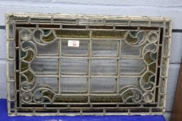 Pair of coloured leaded glass panels, 57 x 36cm