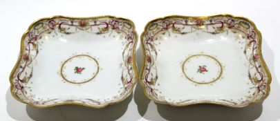 Pair of late 18th century Continental porcelain dishes, probably Weesp, with floral designs within a
