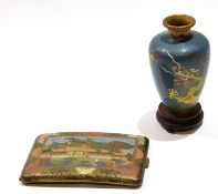 Late 19th century cloisonne vase together with a cloisonne cigarette case, with typical designs to
