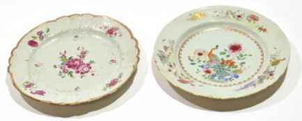 Two 18th century Chinese porcelain famille rose plates, one with a floral design, the other with a
