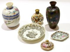 Group of Chinese porcelain wares together with a cloisonne vase, comprising a Chinese pot and