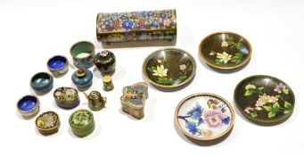 Group of cloisonne wares including a box and cover with floral decoration, other small boxes, pin