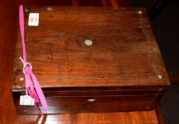 Mahogany pewter strung and mother of pearl mounted box containing a collection of various buttons,