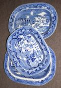 Group of three Staffordshire flow blue platters with typical chinoiserie designs, largest 43cm