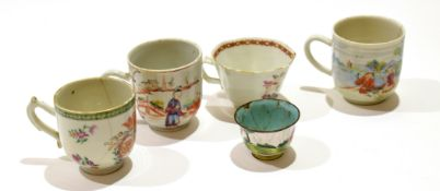 Group of 18th century Chinese porcelain cups including a marriage cup, decorated in polychrome