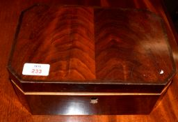 Mahogany vanity box of canted square form, 19th century, 26.5cm wide