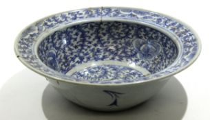 Ming style bowl, decorated in typical fashion with sale label for Philips Lot No 284 Sale No 1694,