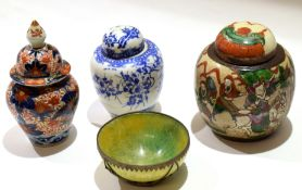 Group of Chinese and Japanese porcelain including a Japanese jar and cover decorated in Imari style,
