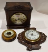 Early 20th century oak mantel clock, small aneroid barometer and one other (3)