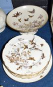 Group of Continental porcelain manufactured by Pirkenhammer, items include a tazza, six small plates