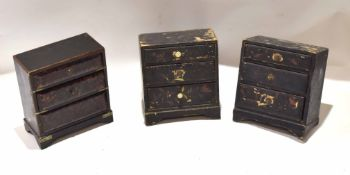 Collection of three Oriental ebonised small chests