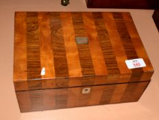 Victorian parquetry type sewing box with fitted and plush lined interior, 25.5cm wide
