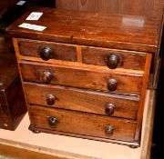 Vintage mahogany apprentices chest of five drawers, 24.5cm wide
