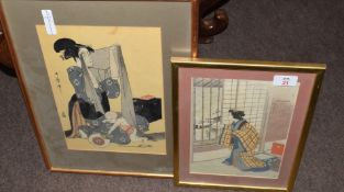 Group of Japanese wood block prints, one of a Samisen player and two others with geishas, (3)