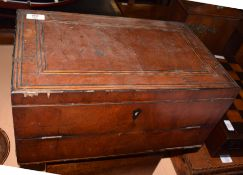 19th century mahogany and ebonised strung writing slope (a/f), 44cm wide