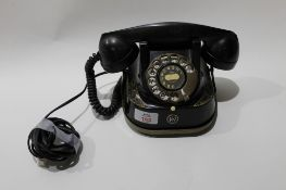 """Vintage black anodised and brass telephone marked """"Belgique Bell Telephone Mfg Co"""", 22cm wide"""