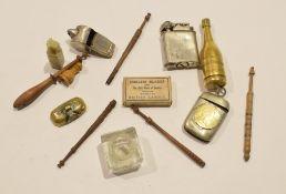Box containing vintage vesta case, table lighter, whistle etc